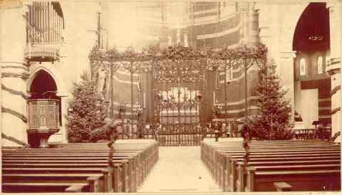 photo of church interior circa 1890