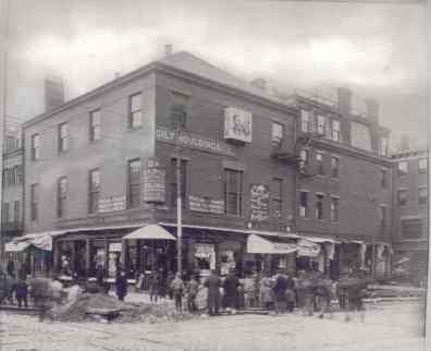 19th century photo of commercial building on Merrimac Street