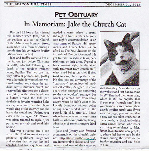 Jake obituary